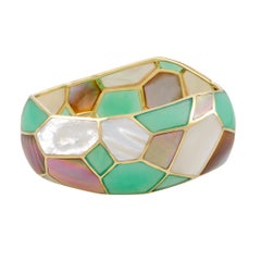 Polished Rock Candy 18 Karat Yellow Gold Mother-of-Pearl and Turquoise Bangle