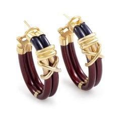 Nouvelle Bague Women's 18 Karat Yellow Gold Enamel Hoop Earrings