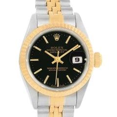 44b7cdc1538 Rolex Datejust 26 Steel Yellow Gold Black Dial Ladies Watch 79173