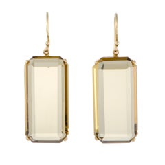 Rock Candy 18 Karat Yellow Gold Orange Citrine Rectangular Dangle Earrings