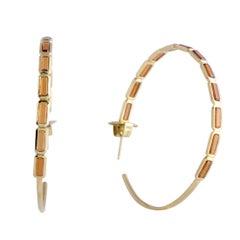 Rock Candy 18 Karat Yellow Gold Hessonite Garnet Large Hoop Earrings