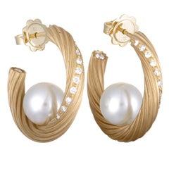 Mikimoto 18 Karat Yellow Gold Diamond and White Pearl Hoop Earrings