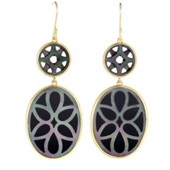 Polished Rock Candy 18 Karat Gold Onyx and Mother of Pearl Cutout Earrings
