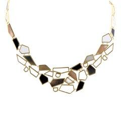 Polished Rock Candy 18 Karat Yellow Gold Multi-Colored Stones Bib Necklace