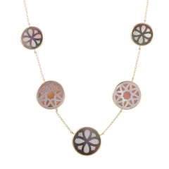 Polished Rock Candy 18 Karat Yellow Gold Mother of Pearl Sautoir Necklace
