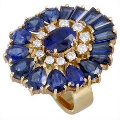 Mikimoto 18 Karat Yellow Gold Diamond and Sapphire Oval Ring