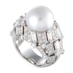 Mikimoto 18 Karat White Gold Diamond and White Pearl Large Ring