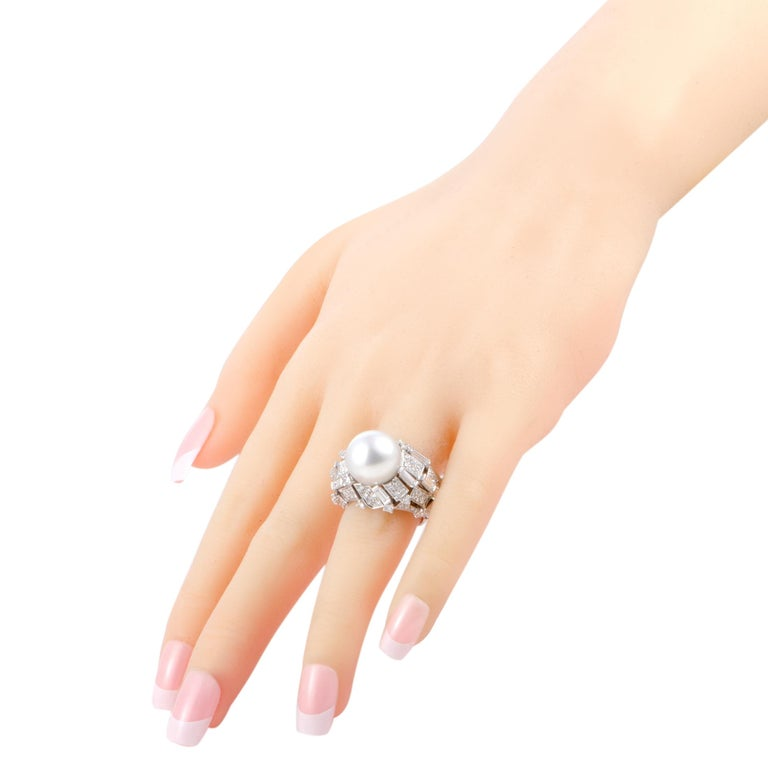 Women's Mikimoto 18 Karat White Gold Diamond and White Pearl Large Ring For Sale
