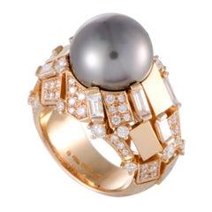 Mikimoto 18 Karat Rose Gold Diamonds and Black Pearl Ring