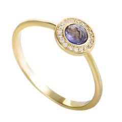 Lollipop 18 Karat Yellow Gold Diamond and Iolite Mini Round Ring