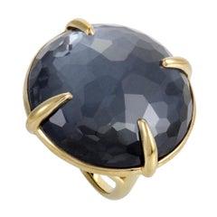 Rock Candy 18 Karat Yellow Hematite and Quartz Large Round Ring