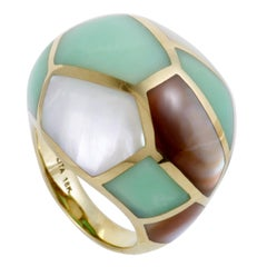 Polished Rock Candy 18 Karat Yellow Gold Mother of Pearl and Agate Dome Ring