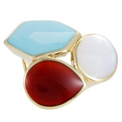 Polished Rock Candy 18 Karat Yellow Multicolored Stones Cocktail Ring