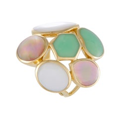 Polished Rock Candy 18 Karat Yellow Multicolored Stones Large Cocktail Ring