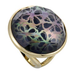 Polished Rock Candy 18 Karat Yellow Gold Quartz Mother of Pearl and Onyx Ring