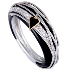 Nouvelle Bague 18 Karat White and Rose Gold Diamond Pave Ring