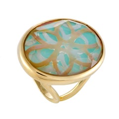 Polished Rock Candy 18 Karat Gold Quartz Mother of Pearl and Turquoise Ring