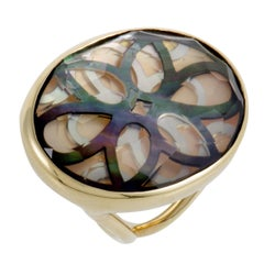 Polished Rock Candy 18 Karat Yellow Gold Quartz and Mother of Pearl Cutout Ring