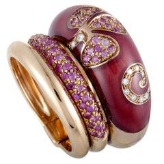 Nouvelle Bague Petali 18 Karat Rose Gold Diamond and Pink Sapphire Pave Ring