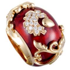 Nouvelle Bague 18 Karat Gold Diamond Pave and Sienna Enamel Flower Bombe Ring