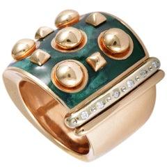 Nouvelle Bague 18 Karat Rose/White Gold Diamonds and Green Enamel Wide Band Ring