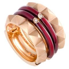 Nouvelle Bague 18 Karat Gold Diamond and Burgundy Enamel 2 Band Ring Set