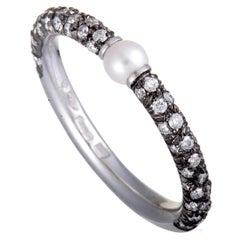 Mikimoto 18 Karat White Gold and Black Rhodium Diamond and Akoya Pearl Band