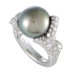 Mikimoto 18 Karat White Gold Diamond and Black Pearl Ring