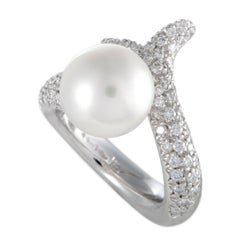 Mikimoto 18 Karat White Gold Diamond and White Pearl Bypass Ring