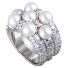 Mikimoto 18 Karat White Gold Diamond and 7 Akoya Pearls Ring