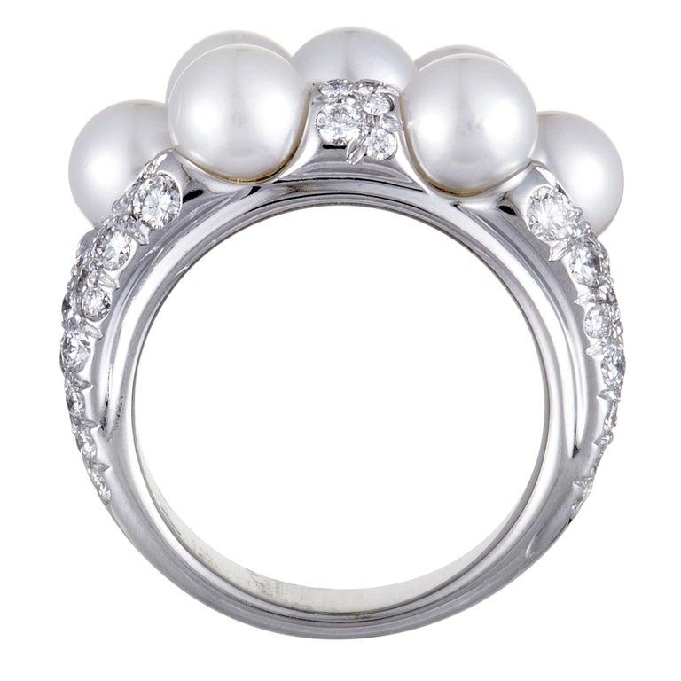 Women's Mikimoto 18 Karat White Gold Diamond and 7 Akoya Pearls Ring For Sale