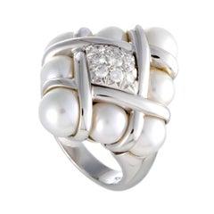 Mikimoto 18 Karat White Gold Diamonds and 8 Akoya Pearls Ring