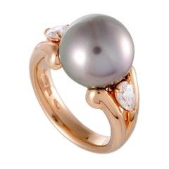 Mikimoto 18 Karat Rose Gold Diamond and Black Pearl Ring