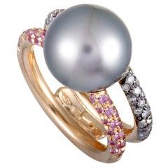 Mikimoto 18 Karat Rose Gold Grey Diamond, Pink Sapphire and Black Pearl Ring