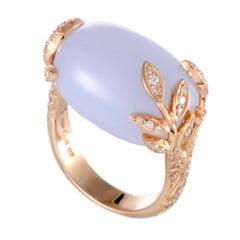 Mikimoto 18 Karat Rose Gold Diamond and Chalcedony Ring
