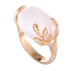 Mikimoto 18 Karat Rose Gold Diamond and Pink Quartz Ring