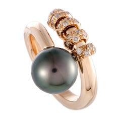 Mikimoto 18 Karat Rose Gold Brown Diamond and Black Pearl Ring