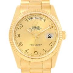 Rolex President Day-Date Arabic Numerals Yellow Gold Men's Watch 118238