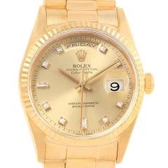 Rolex President Day-Date 36 Yellow Gold Diamond Men's Watch 18238
