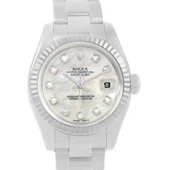 Rolex Datejust Steel White Gold MOP Diamond Dial Ladies Watch 179174