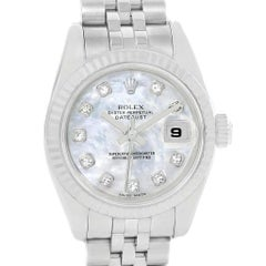 Rolex Datejust Steel White Gold Mother of Pearl Diamond Dial Ladies Watch 179174