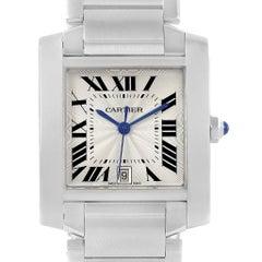Cartier Tank Francaise Silver Roman Dial Steel Watch Model W51002Q3