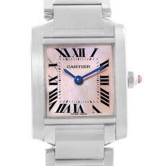 Cartier Tank Francaise Pink MOP Dial Steel Ladies Watch W51028Q3