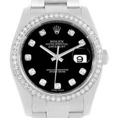 Rolex Datejust 36 Black Diamond Dial Bezel Unisex Watch 116244