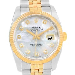 Rolex Datejust 36 Steel Gold Mother of Pearl Diamond Watch 116233 Box Card