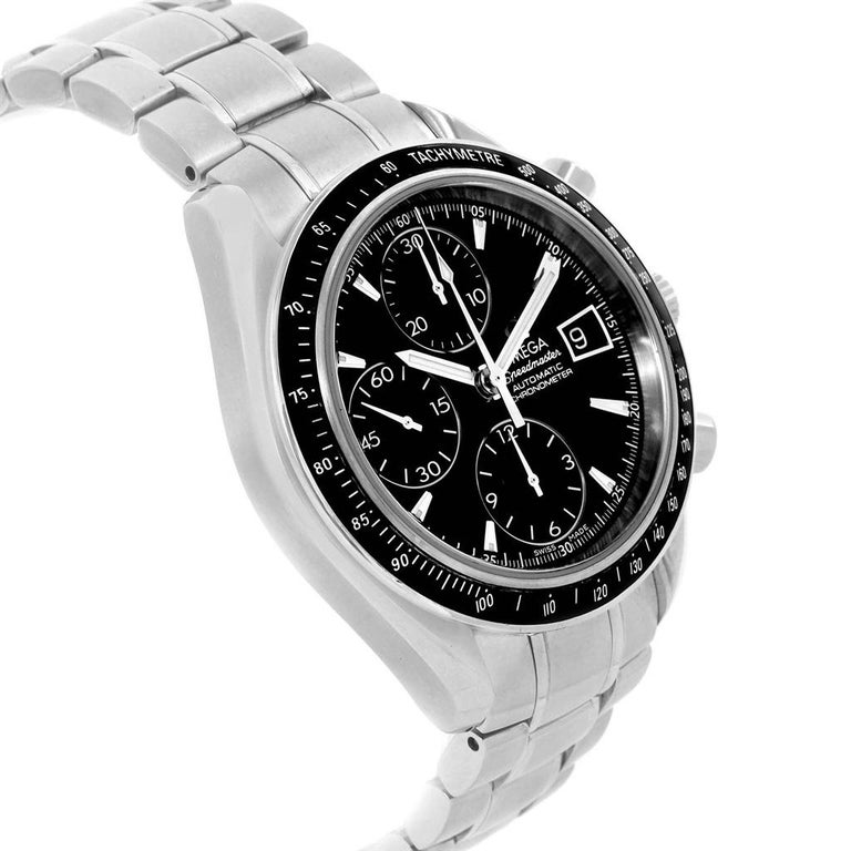 Omega Speedmaster Chronograph Automatic Mens Watch 3210.50.00 . Authomatic self-winding winding chronograph movement. Stainless steel round case 40 mm in diameter. Fixed black bezel with tachymetre function. Scratch-resistant sapphire crystal with