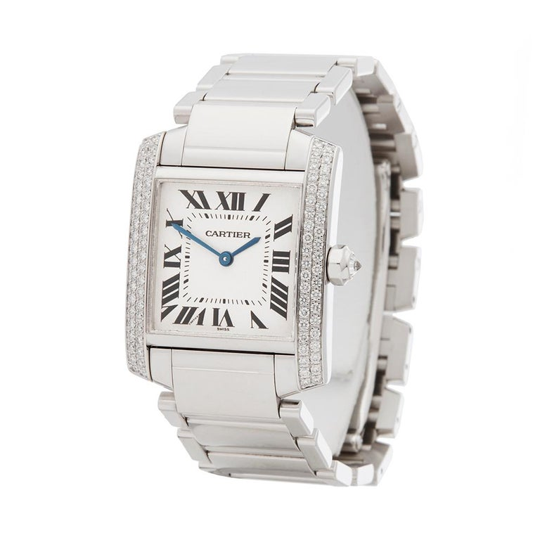 Contemporary 2000s Cartier Tank Francaise Diamond White Gold 2404MG Wristwatch  *  *Complete with: Service Pouch & Service Papers dated 17th July 2018 dated 2000's  *Case Size: 25mm by 30mm  *Strap: 18K White Gold  *Age: 2000's  *Strap length: