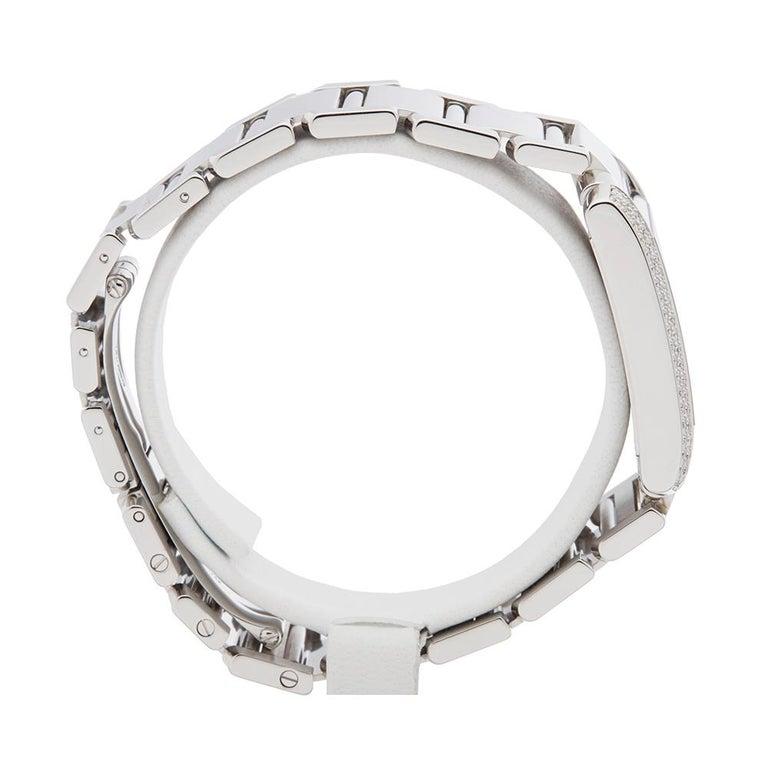 Women's or Men's 2000s Cartier Tank Francaise Diamond White Gold 2404MG Wristwatch