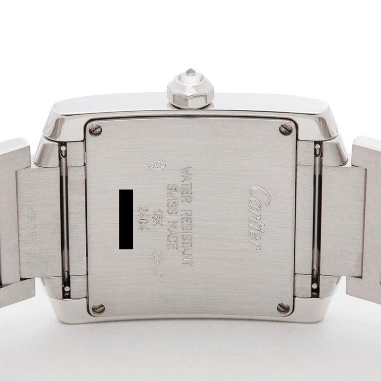 2000s Cartier Tank Francaise Diamond White Gold 2404MG Wristwatch 2