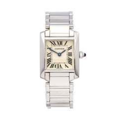 1990's Cartier Tank Francaise White Gold W50012S3 Wristwatch